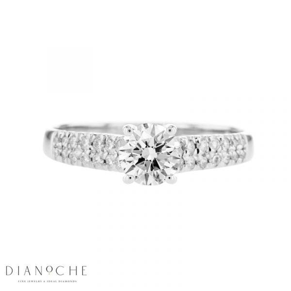 2 row diamond engagement ring White Gold