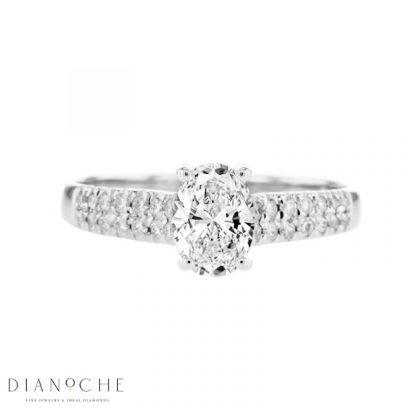 2 row diamond engagement ring - oval white gold