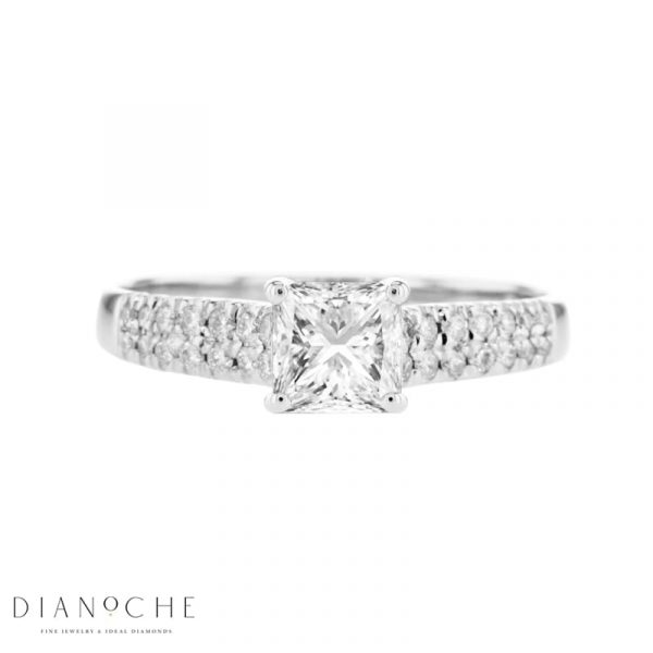 2 row diamond engagement ring - princess White Gold