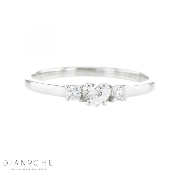 3 stone heart diamond ring white gold