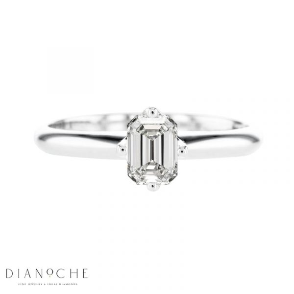 emerald cut solitaire engagement ring white gold