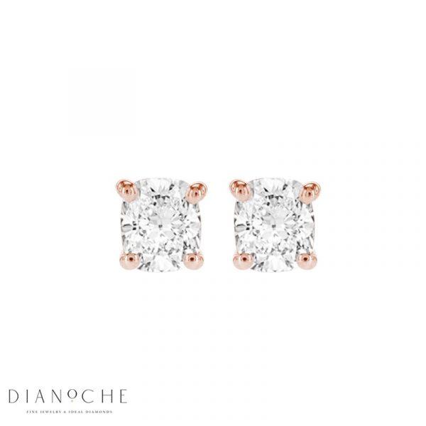 cushion diamond earrings rose gold