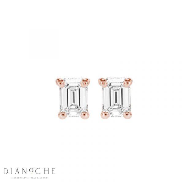 emerald cut diamond earrings rose gold