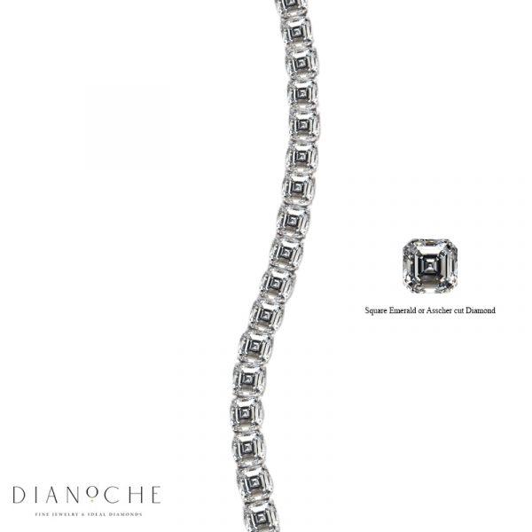 asscher cut diamond tennis bracelet white gold