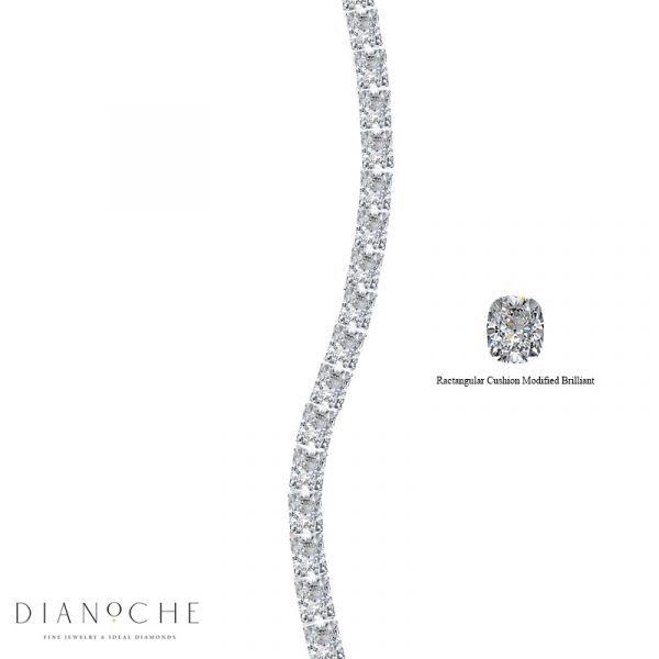 cushion cut diamond bracelet white gold