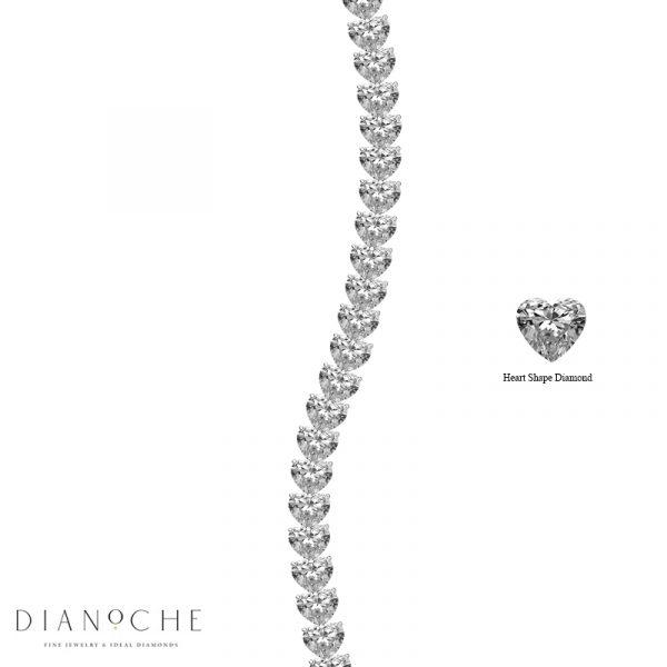 heart shaped diamond tennis bracelet white gold
