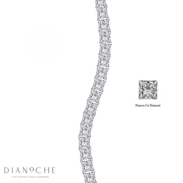 tennis bracelet princess cut diamonds white gold
