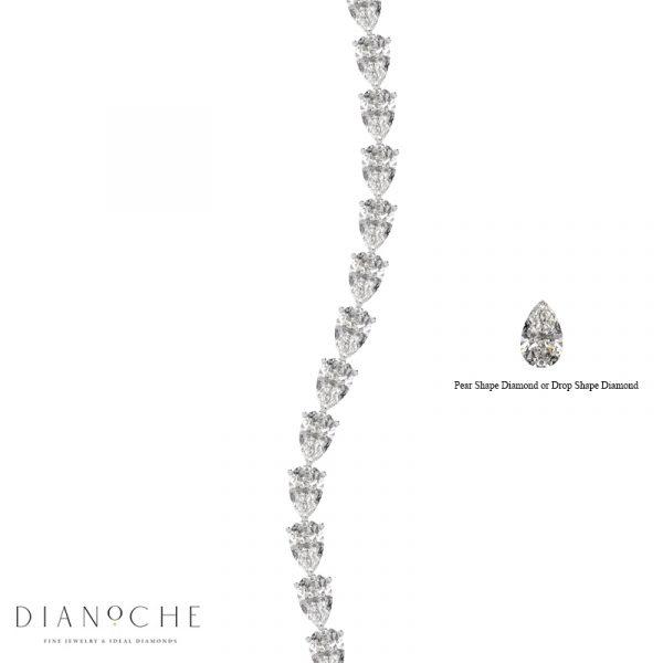 pear shaped diamond bracelet white gold