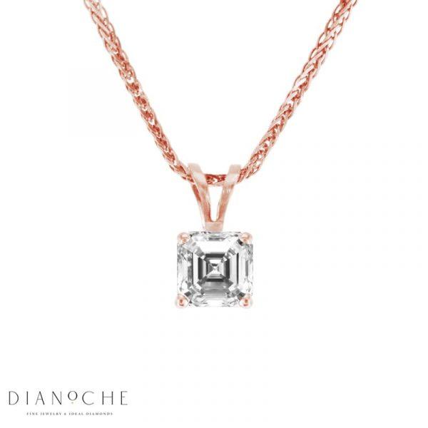 asscher cut diamond pendant rose gold