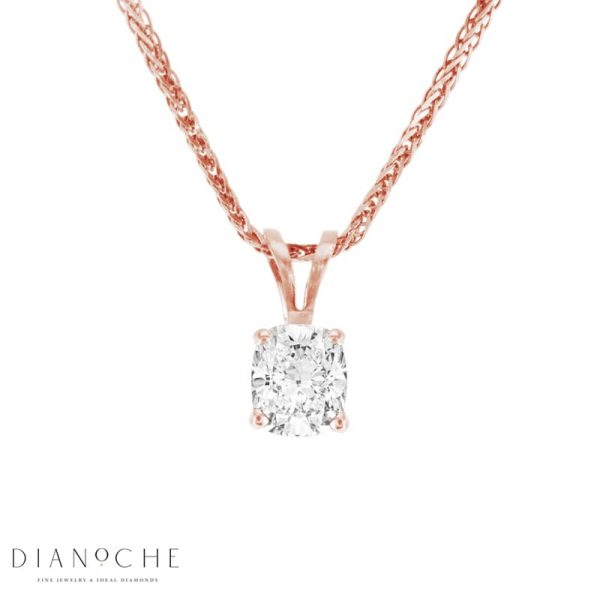 cushion diamond solitaire pendant rose gold