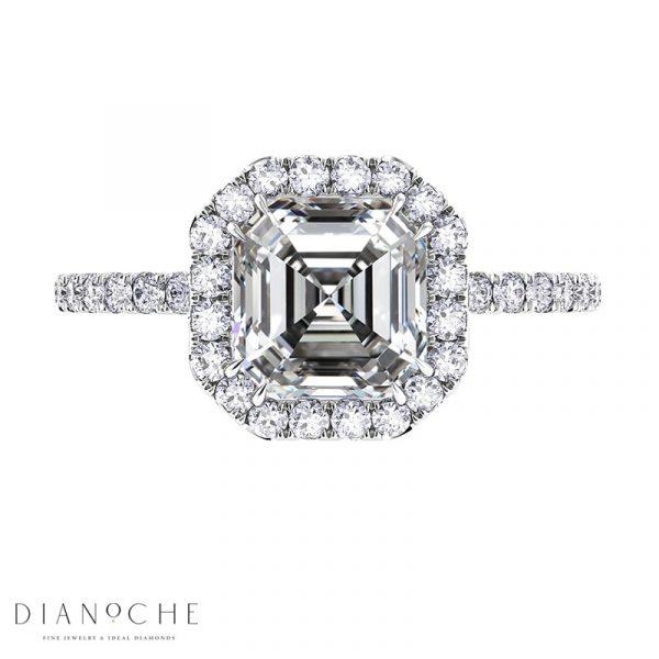 asscher cut halo engagement ring white gold