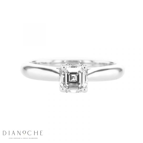 asscher cut solitaire engagement ring white Gold