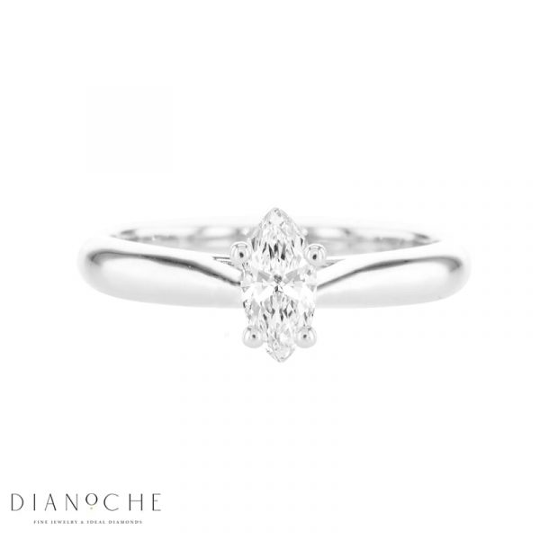 marquise cut solitaire diamond engagement ring white gold