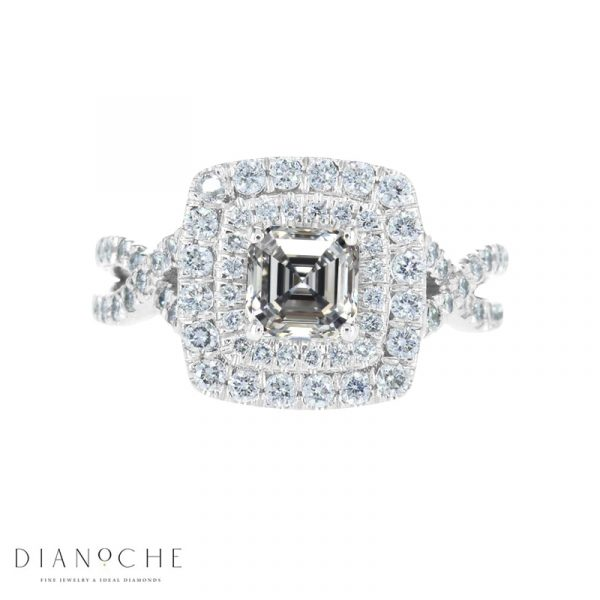 Pave Engagement Ring White Gold