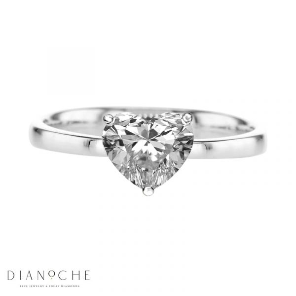 Heart cut solitaire engagement ring white gold