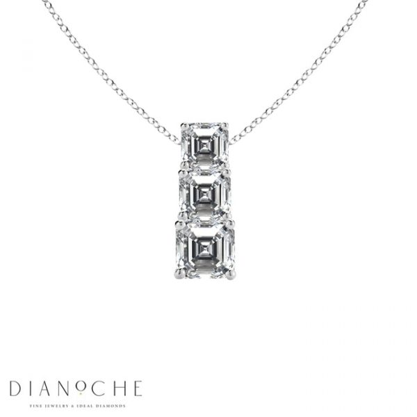 3 diamond necklace white gold