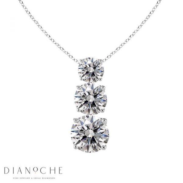 3 diamond pendant white gold