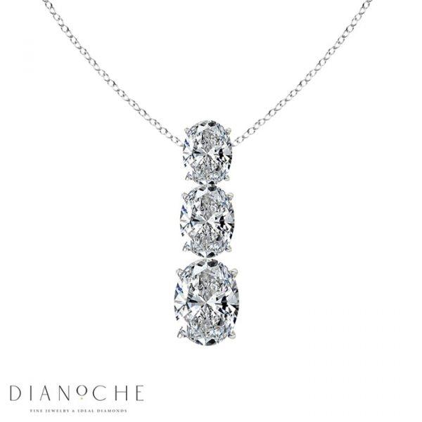 3 stone vertical diamond necklace white gold