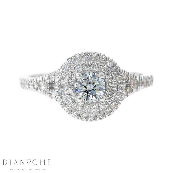 Halo engagement ring round cut diamond white gold