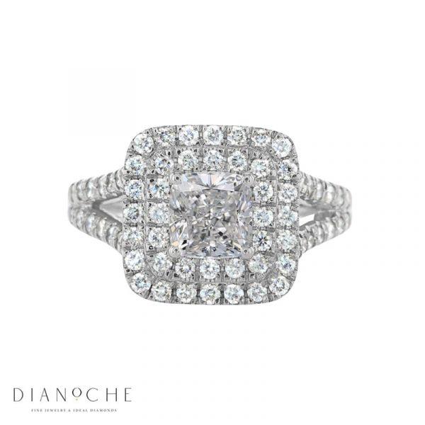 cushion halo engagement ring white gold