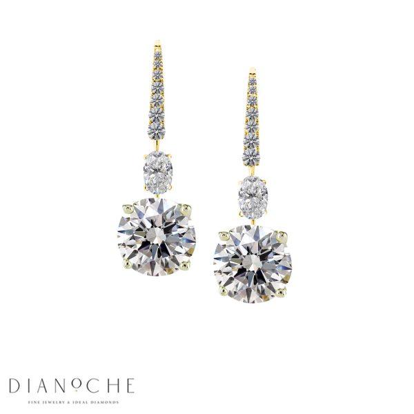 designed diamond drop earrings yellow gold