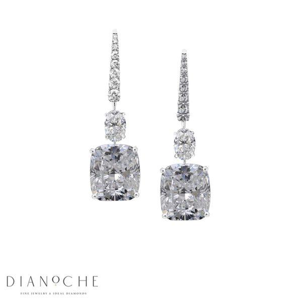 cushion cut diamond drop earrings white gold