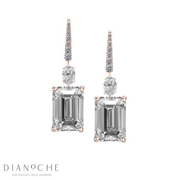 emerald cut diamond drop earrings rose gold