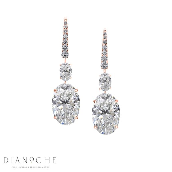 dangling earrings with diamonds rose gold