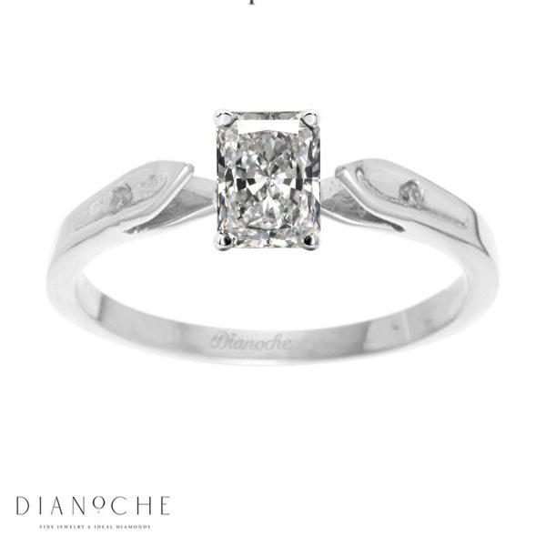 Dainty engagement ring radiant diamond white gold
