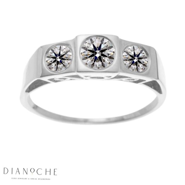 3 stone engagement ring antique style white gold