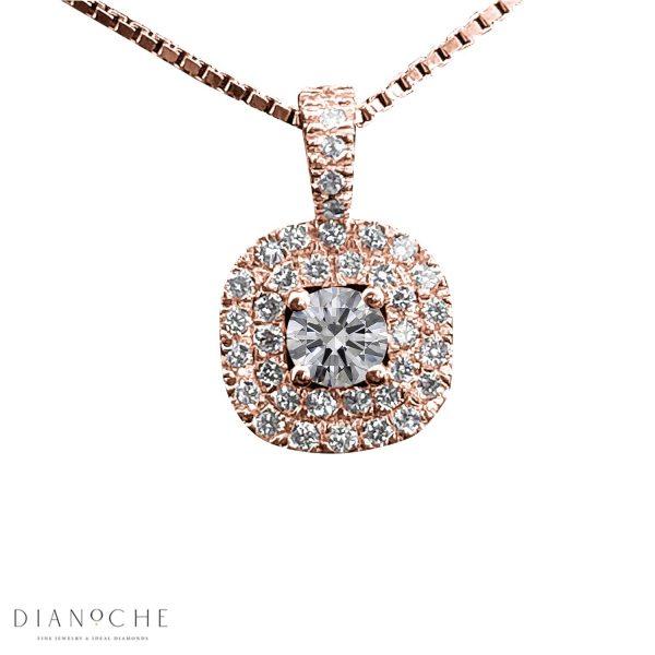 double halo diamond pendant necklace rose gold