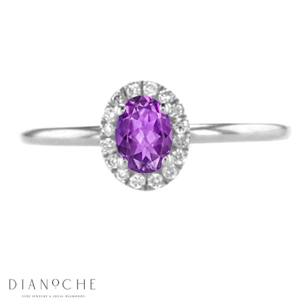 Amethyst and Diamond Engagement Ring white gold