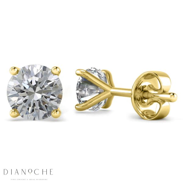diamond stud earrings 1 ct each yellow gold