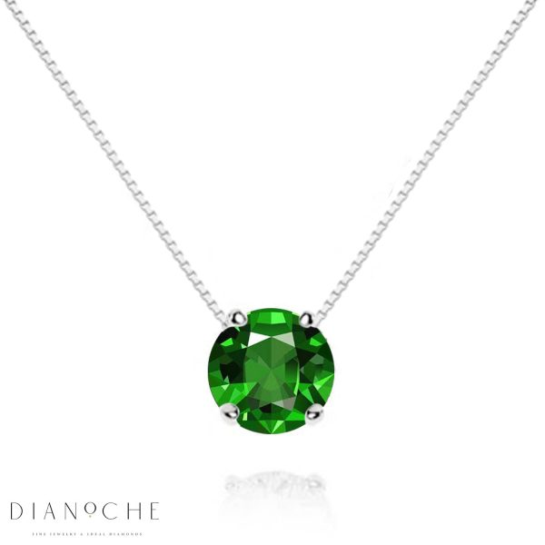 floating emerald necklace white gold