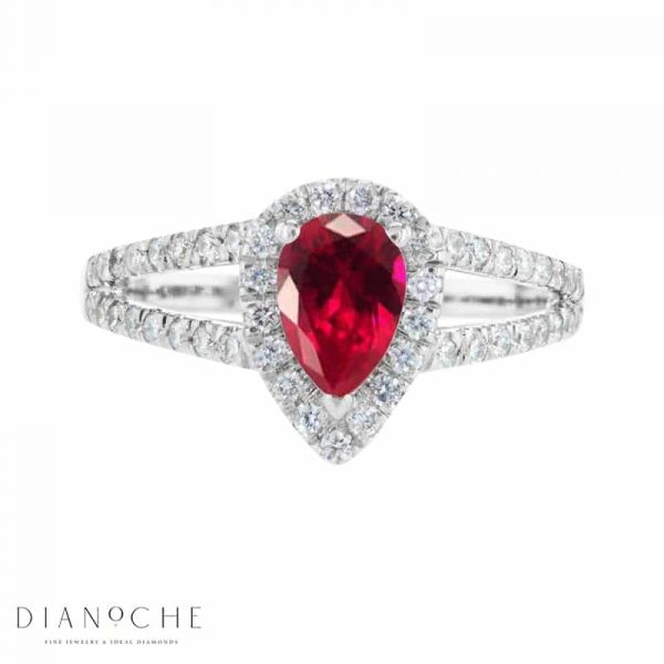 Pear-shaped ruby and gold diamond ring white
