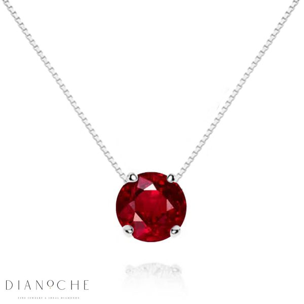 Floating Ruby Necklace in white gold