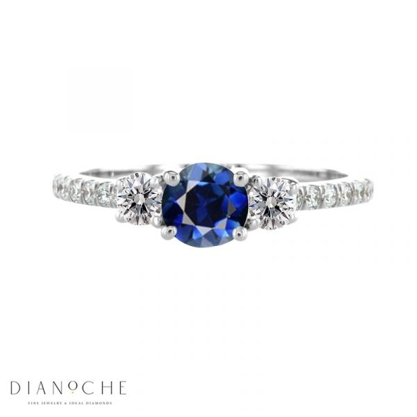10 stone blue sapphire and diamond engagement ring white gold