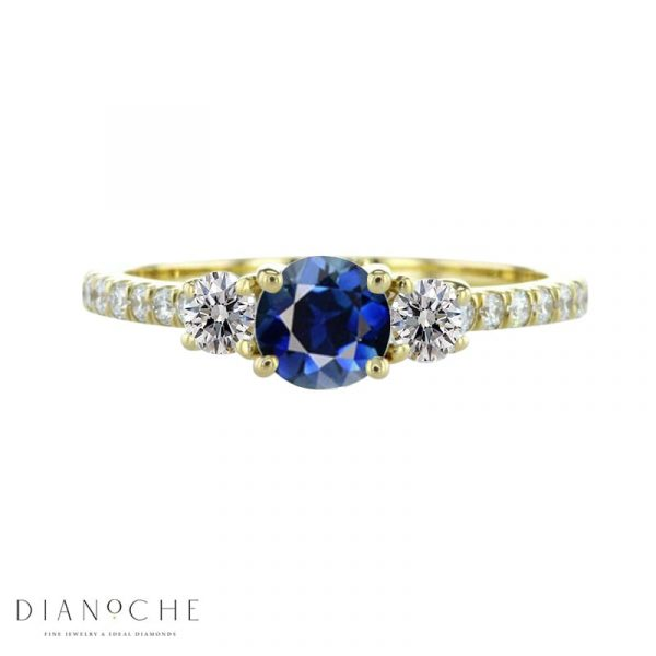10 stone blue sapphire and diamond engagement ring yellow gold