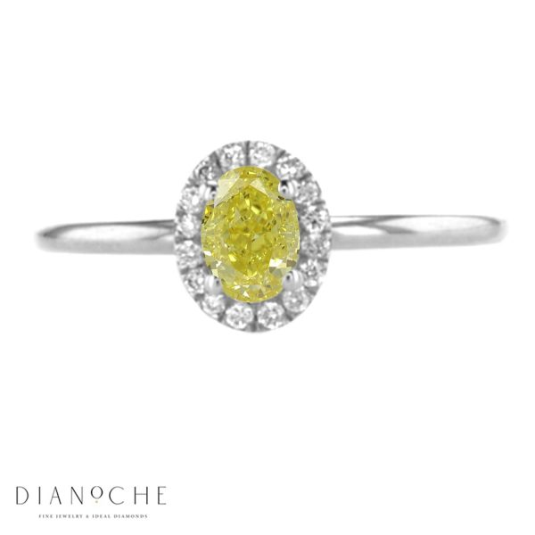 DIAMOND OVAL RING white gold