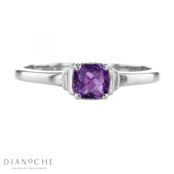 amethyst solitaire engagement ring white