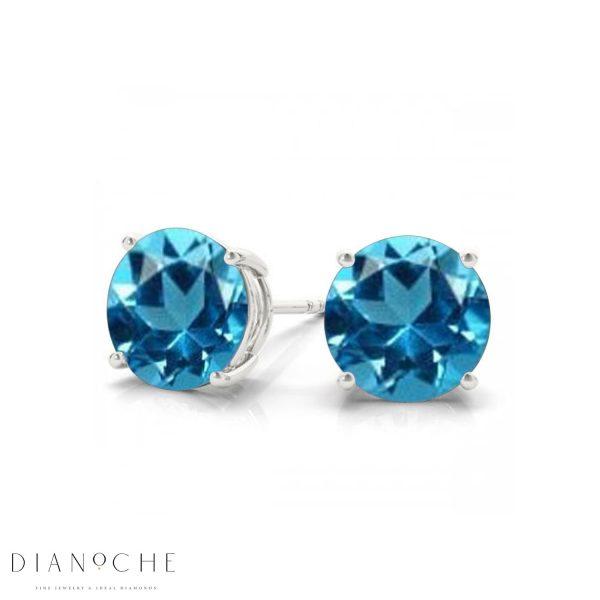 classic blue topaz earrings white gold