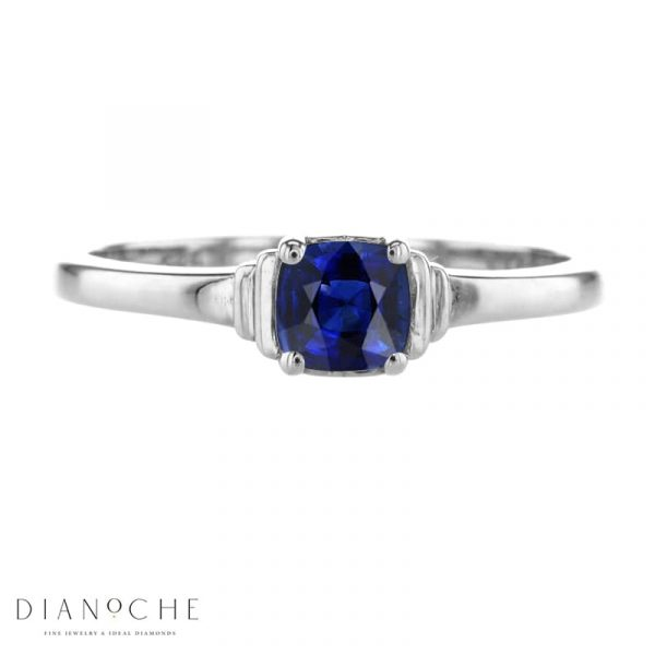 sapphire solitaire engagement ring white gold