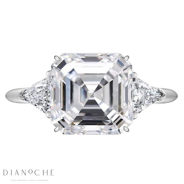 3 Stone Asscher Cut Engagement Ring white gold