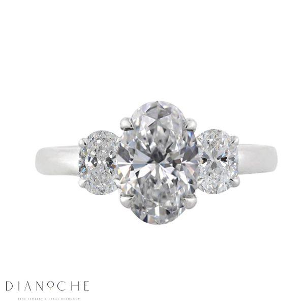 3 stone oval diamond engagement ring platinum