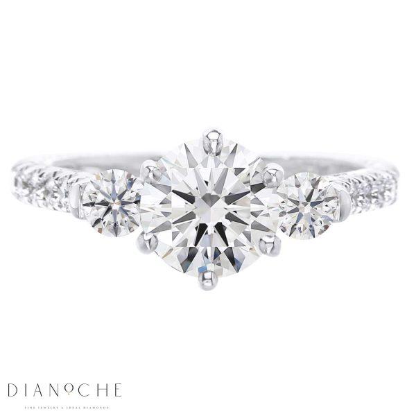 3 Stone round diamond ring white gold