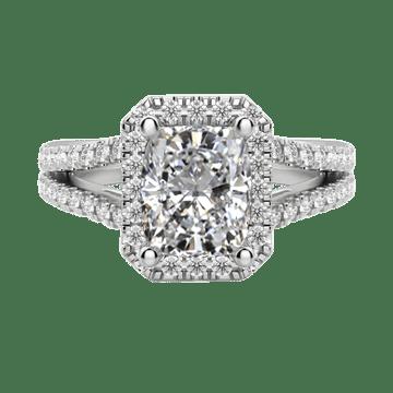 Cushion cut engagement ring with halo platinum