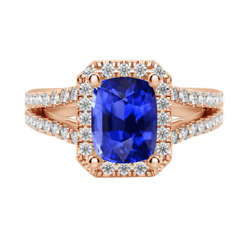 Cushion cut halo sapphire engagement ring white gold