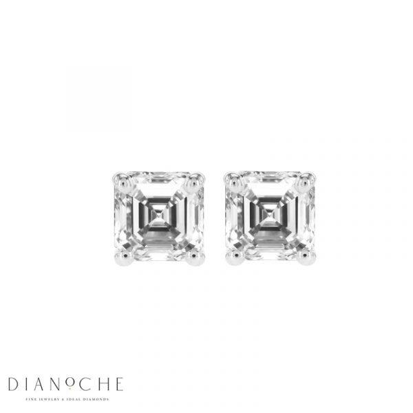 asscher cut diamond earrings white gold