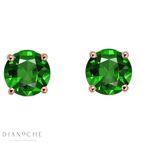 classic emerald earrings rose gold