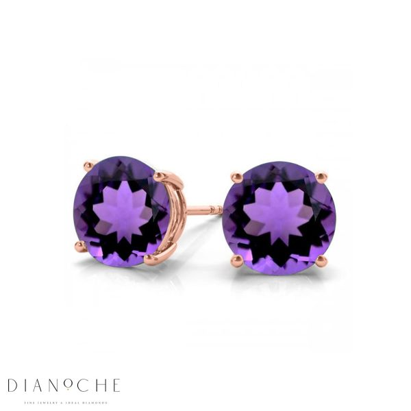 classic amethyst earrings rose gold
